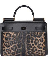 Dolce & Gabbana Animal Print Top Handle Bag - Black