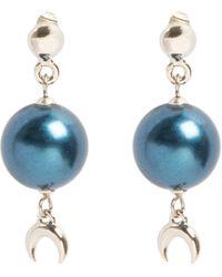 Marine Serre Hanging Moon Pearl Earrings - Blue