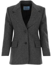 Prada Single-breasted Tailored Blazer - Gray