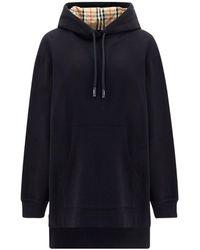 Burberry Asymmetric Hem Oversized Hoodie - Black