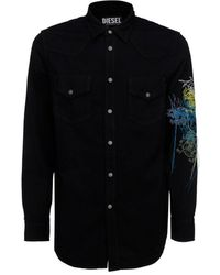 DIESEL D-east-p1-sp Embroidered Denim Shirt - Black