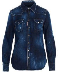 DSquared² Distressed Denim Shirt - Blue