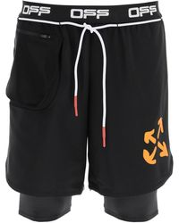 Off-White c/o Virgil Abloh Double Layer Active Shorts - Black