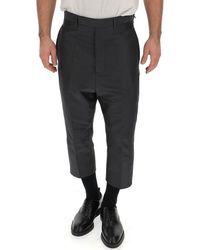 Rick Owens High Waist Cropped Trousers - Black