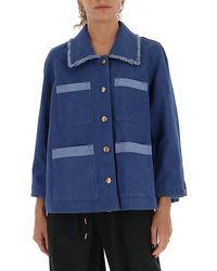 Chloé Chloé Contrast Detailed Denim Jacket - Blue
