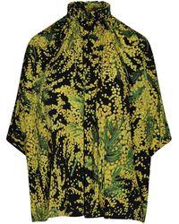 Balenciaga Plant Print Oversized Blouse - Green