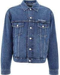 Balenciaga Logo Embroidered Denim Jacket - Blue