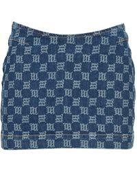 MISBHV Monogram Print Mini Denim Skirt - Blue