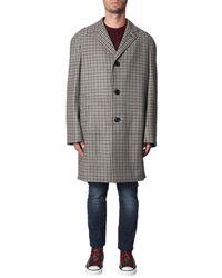 Lanvin Checked Wool Coat With Raglan Sleeve - Gray