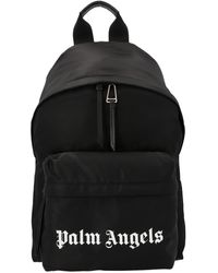 Palm Angels Logo Printed Backpack - Black