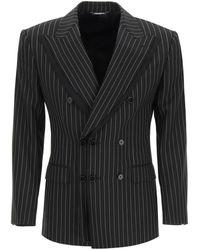 Dolce & Gabbana Tailored Blazer In Pinstripe Wool 48 Wool - Black