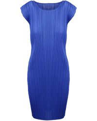 Pleats Please Issey Miyake Pleated Sleeveless Dress - Blue