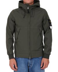 Stone Island Soft Shell Hooded Jacket - Green