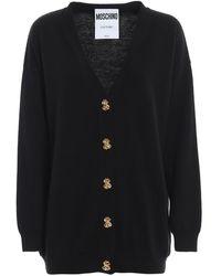 Moschino Button-embellished Wool Cardigan - Black