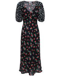 RIXO London Floral Print Midi Dress - Black
