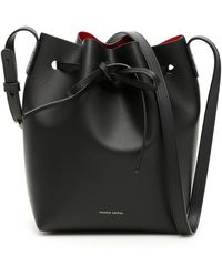 Mansur Gavriel Mini Bucket Bag Leather Black/flamma
