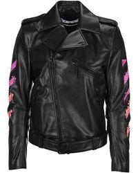 Off-White c/o Virgil Abloh Arrow Print Leather Biker Jacket - Black