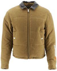 Heron Preston Down Jacket With Leather Collar M Cotton - Brown