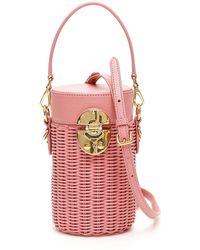 Miu Miu Wicker Cylinder Mini Bag - Pink