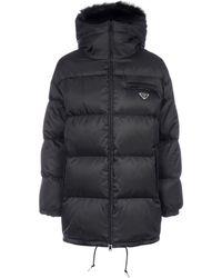 Prada Logo Hooded Puffer Coat - Black
