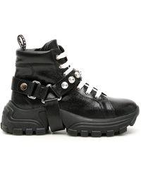 Miu Miu Combat Crystal Embellished Sneakers - Black