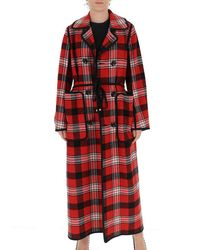 DSquared² Long Checked Coat - Red