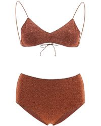 Oséree Lumiere Lurex Bikini L - Brown
