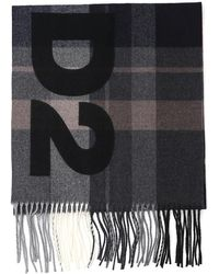DSquared² Checked Fringed Scarf - Black