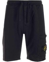 Stone Island Logo Patch Sweat Shorts - Black