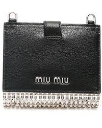 Miu Miu Crystal Fringes Cardholder - Black