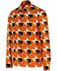 Prada Geometic Print Shirt - Orange