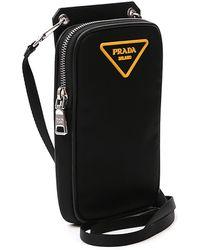 Prada Logo Plaque Crossbody Phone Pouch - Black