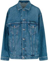 Balenciaga Logo Embroidered Oversized Denim Jacket - Blue