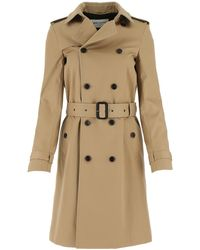 Saint Laurent Double-breasted Belted Trench Coat - Natural
