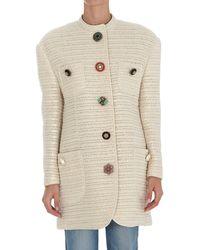 Dolce & Gabbana Single-breasted Crewneck Jacket - White