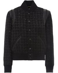 Saint Laurent Lamé Houndstooth Print Teddy Jacket - Black