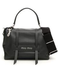 Miu Miu Logo Top Handle Tote Bag - Black