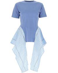 JW Anderson Draped Side Striped T-shirt - Blue
