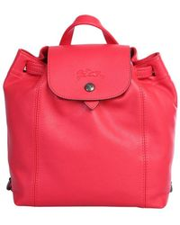Longchamp Le Pliage Cuir Backpack - Red