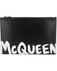 Alexander McQueen Graffiti Logo Clutch Bag - Black