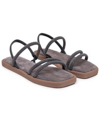 Brunello Cucinelli Monili Embellished Strap Sandals - Grey