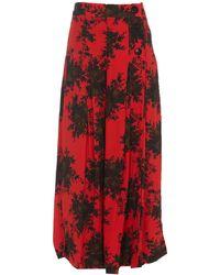 Ganni Floral Printed Midi Skirt - Red