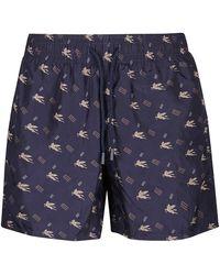 Etro Pegasus Printed Swimming Shorts - Blue