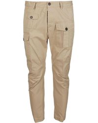 DSquared² Cropped Cargo Trousers - Natural