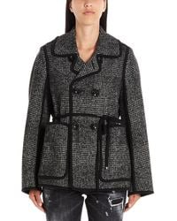 DSquared² Tie Waist Double Breasted Jacket - Gray