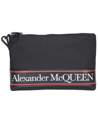 Alexander McQueen Flat Lettering Logo Printed Clutch - Black