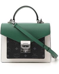 MCM Patricia Visetos Leather Block Small Satchel - Green