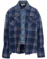 Greg Lauren Denim Checked Long-sleeve Shirt - Blue