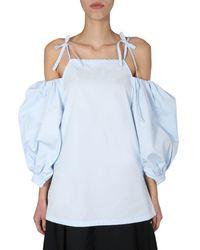 Jil Sander Puffed Sleeve Top - Blue