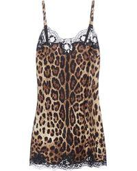 Dolce & Gabbana Leopard Print Lace Trim Slip Dress - Multicolor